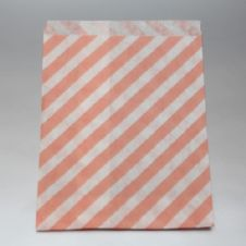 Oblique Stripes Pale Pink Party bitty bags Set of 25/ Πλάγιο ριγέ απαλό αντίκ ροζ χαρτινα σακουλακια Σετ των 25